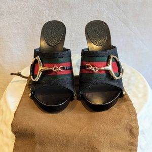 Gucci Shoes - Gucci Wood Clog Studded Heels Size 5
